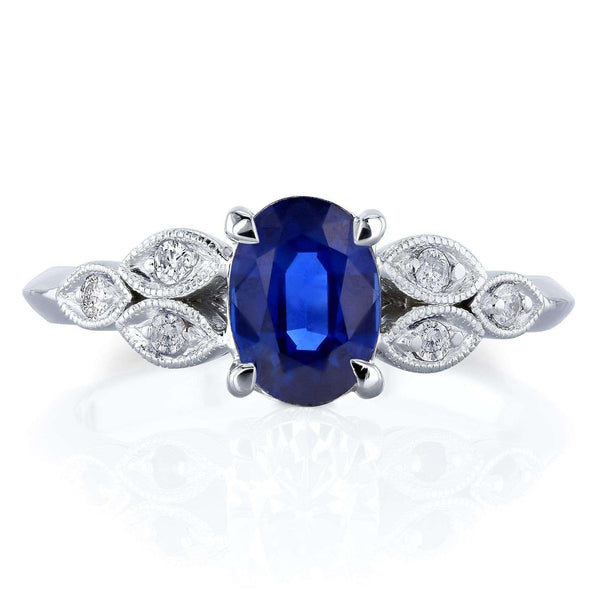 Kobelli 1ct TGW Vintage Oval Blue Sapphire Engagement Ring with Diamond Accents in 14k White Gold