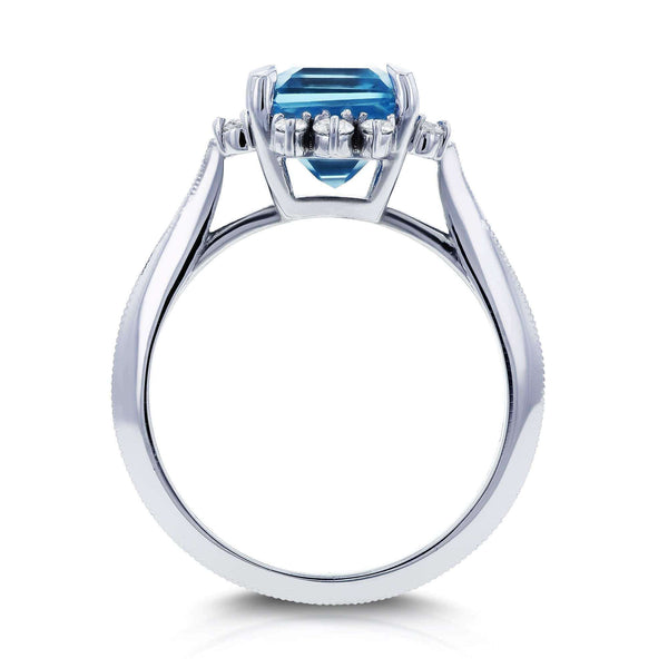 Kobelli Emerald Blue Topaz and White Diamond Ring 1/5ct TDW in 14k White Gold