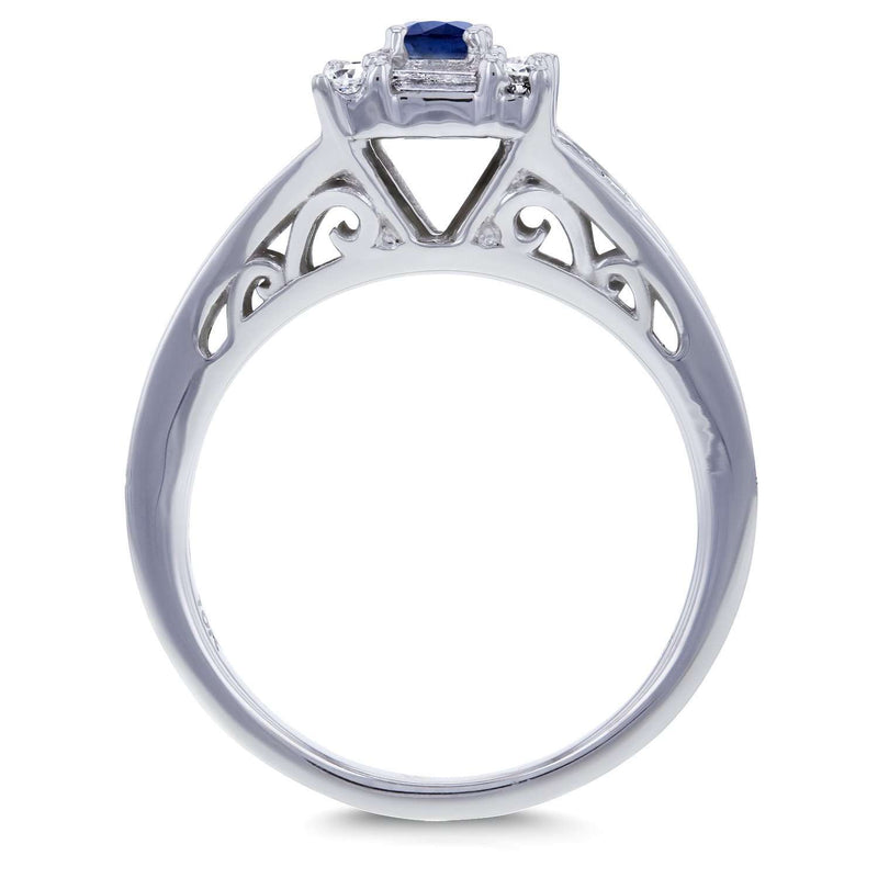 Round Sapphire and Baguette Diamond Halo Ring 1/2 Carat (ctw) in 10k White Gold
