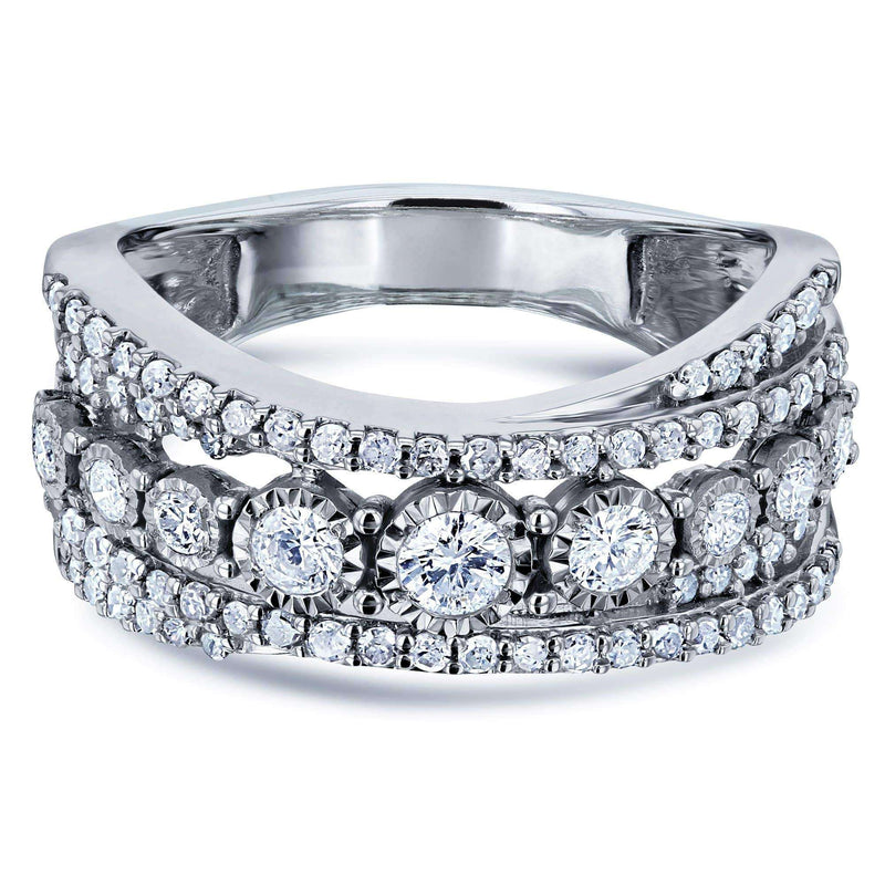 Kobelli Diamond Illusion-set Anniversary Ring Crossed Rows 3/4ct TDW In 10k White Gold