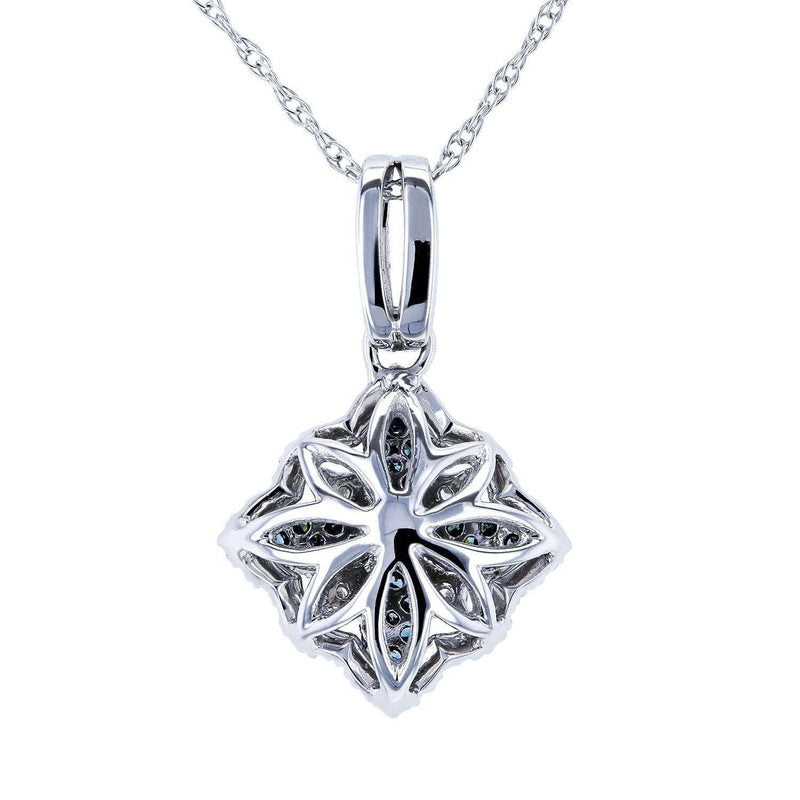 Blue Diamond Flower Pendant 2/5ct TDW in 10k White Gold
