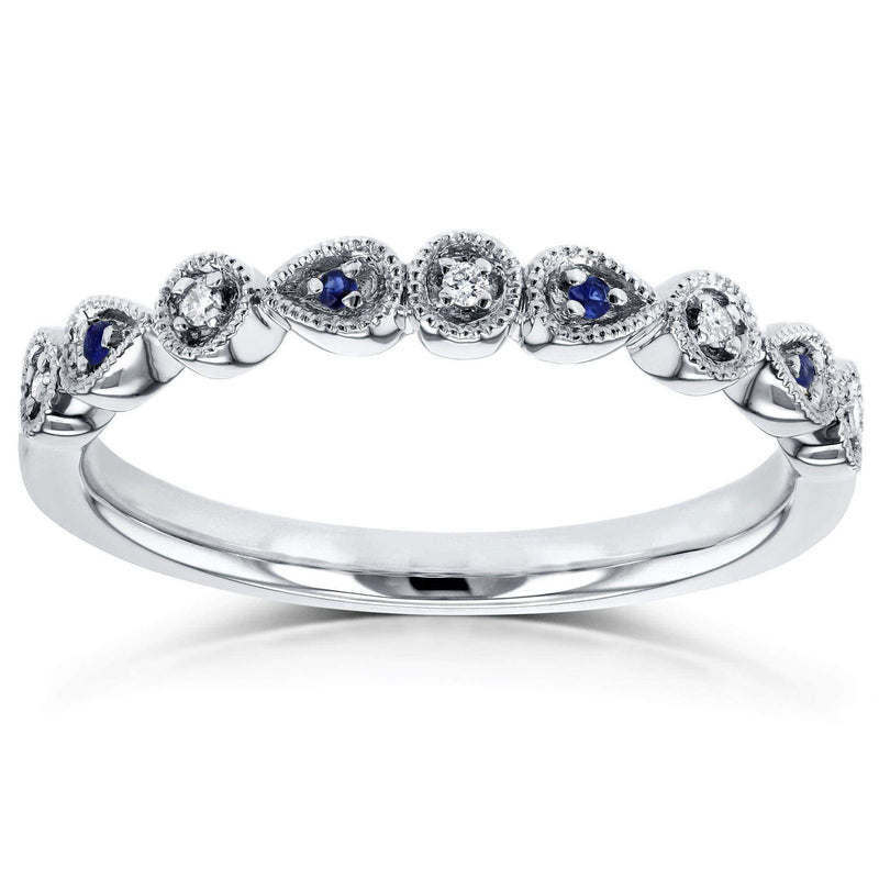 Kobelli Diamond and Sapphire Accented Milgrain Ring in 10k White Gold