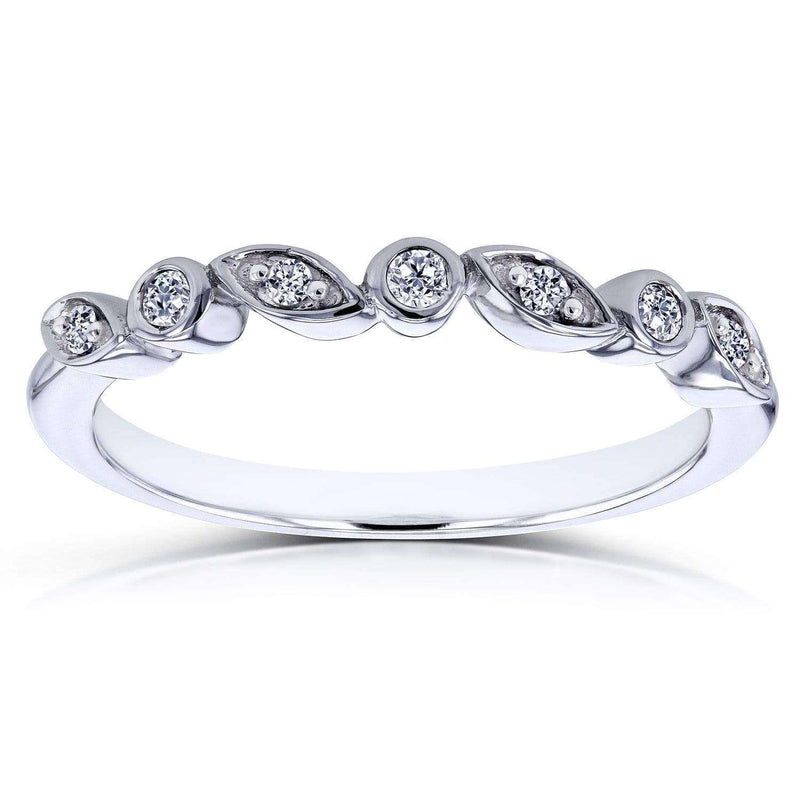 Kobelli Stackable Diamond Accented Ring in 10k White Gold