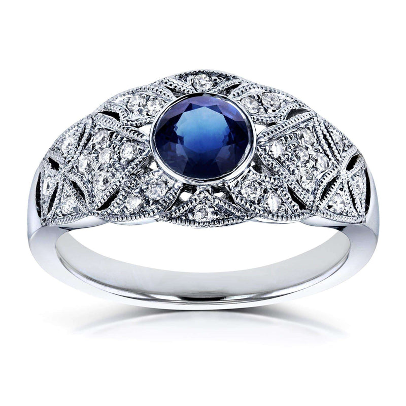 Kobelli Bezel Center Blue Sapphire and Diamond Vintage Ring 5/8 CTW in 14K White Gold
