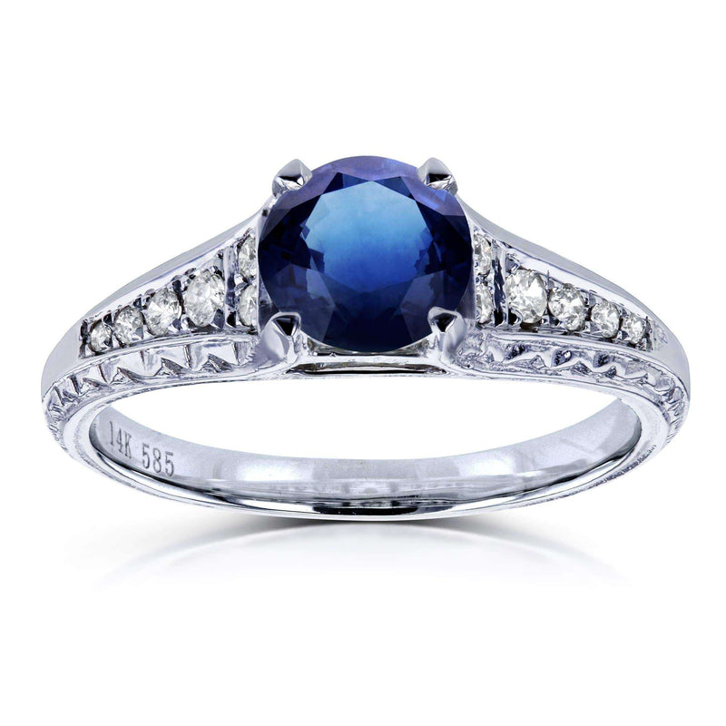 Kobelli Round Sapphire and Diamond Vintage Engagement Ring 1 1/10 CTW in 14k White Gold