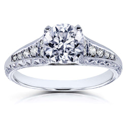 Kobelli Round Diamond Vintage Engagement Ring 1 1/10 CTW in 14k White Gold