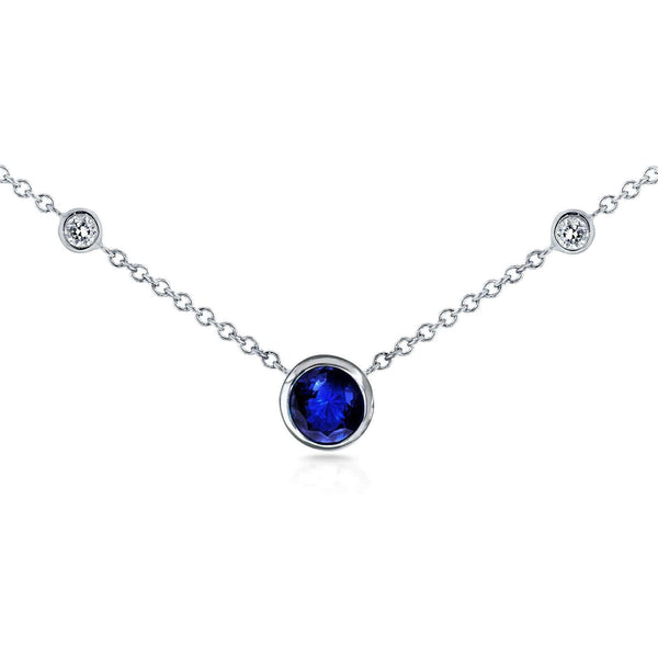 "Kobelli Sapphire and Diamond Bezel Pendant 1/2 CTW in 14K White Gold (16"" Chain) 62266RBS"