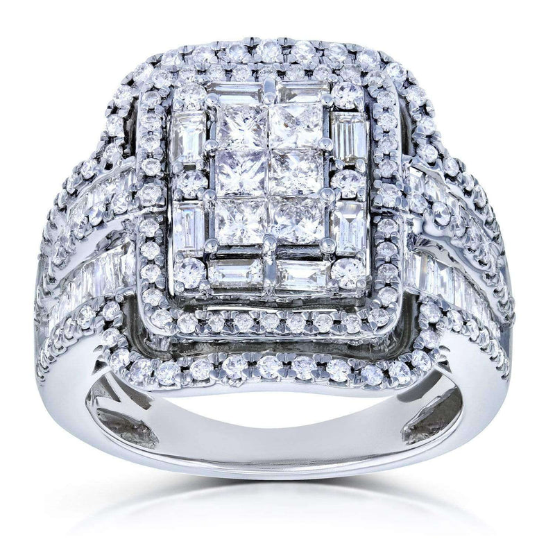 Kobelli Diamond Cluster Rectangular Frame Engagement Ring 2 CTW in 14k White Gold