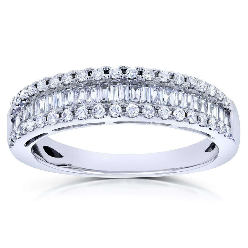 Kobelli Baguette and Round Diamond Wedding Ring 1/2 CTW in 14K White Gold
