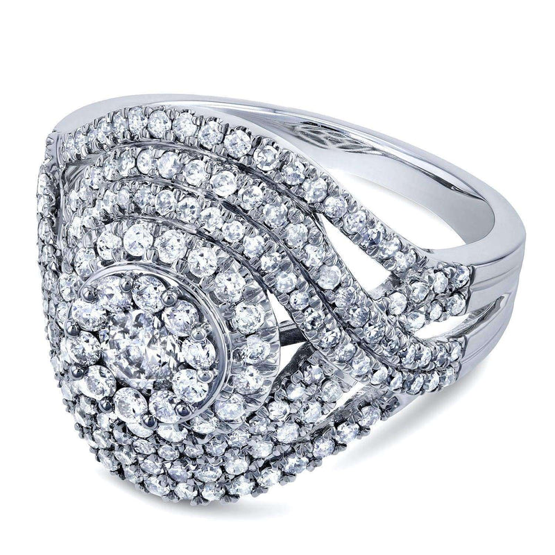 Kobelli Cluster Diamond Composite Ring 1 1/2 CTW in 10k White Gold