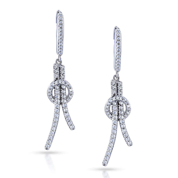Kobelli Diamond Open Loop Knot Dangle Earrings 3/4 Carat CTW in 10k White Gold 62271