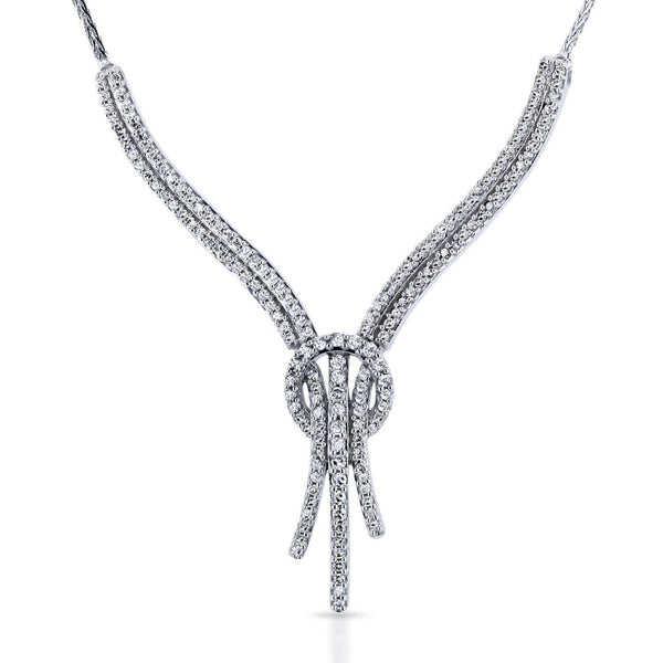 Kobelli Diamond Open Loop Knot Stringy Flat Wheat Chain Anti-Tangle Necklace 3/4 Carat CTW in 10k White Gold 62272