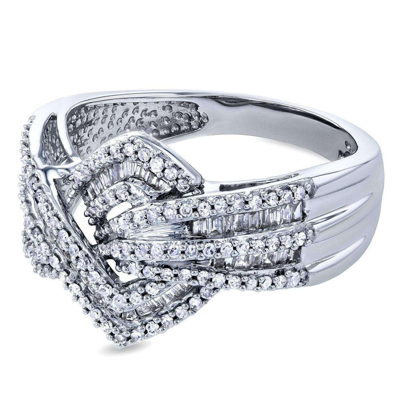 Kobelli Diamond Overlapping Zigzags Anniversary Ring 1/2ct TDW 10k White Gold