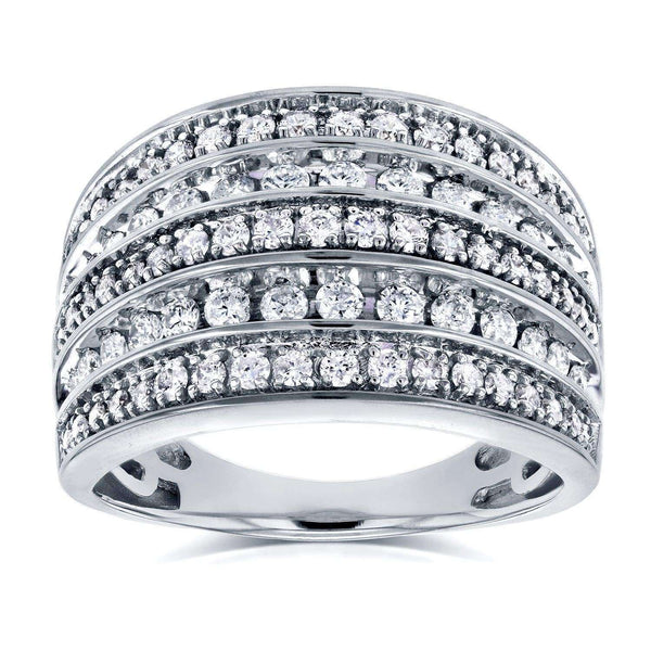 Kobelli Diamond Anniversary Ring Wide Multi-Row Band 1ct TDW 10k White Gold