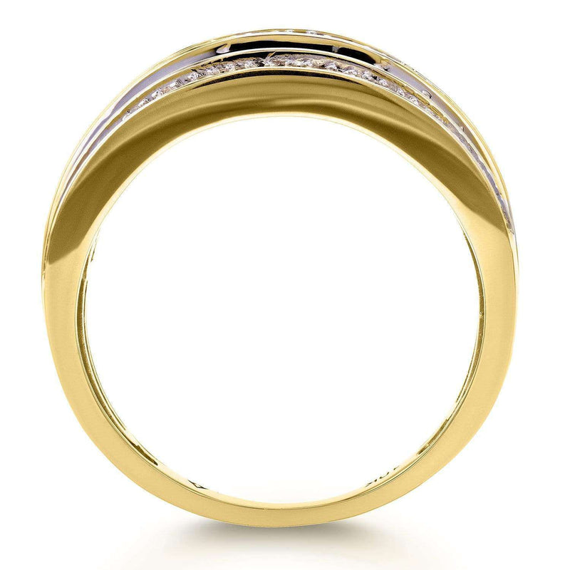 Kobelli Diamond Anniversary Ring Wide Multi-Row Band 1ct TDW 10k Yellow Gold