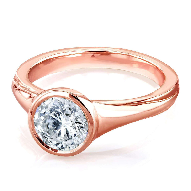 Kobelli Round Solitaire Bezel 1 Carat Diamond Ring in 14k Rose Gold