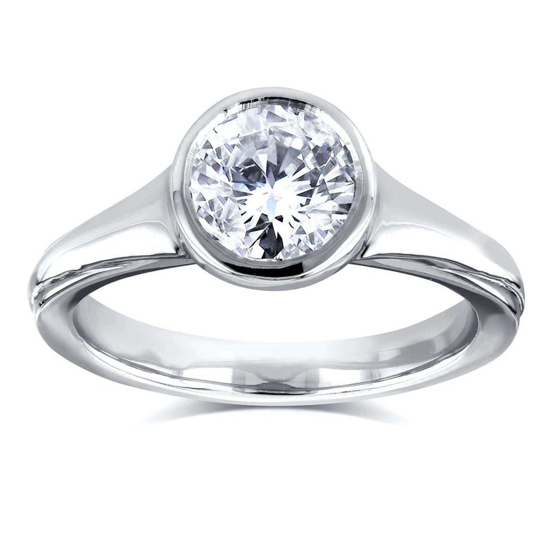 Kobelli Round Solitaire Bezel 1 Carat Diamond Ring in 14k White Gold