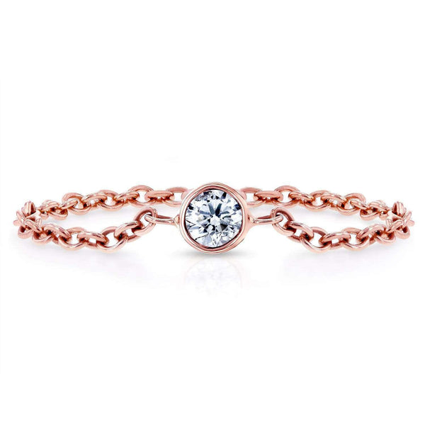 Kobelli Diamond Chain Ring 1/10 CTW in 14k Rose Gold