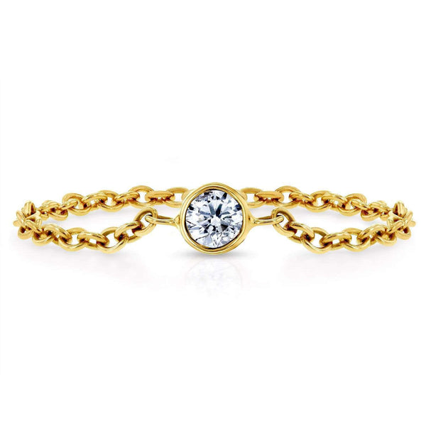 Kobelli Diamond Chain Ring 1/10 CTW in 14k Yellow Gold