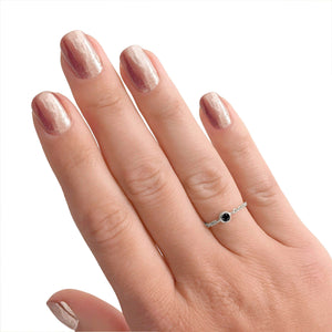 Black Diamond Chain Ring 1/10 CTW in 14k White Gold
