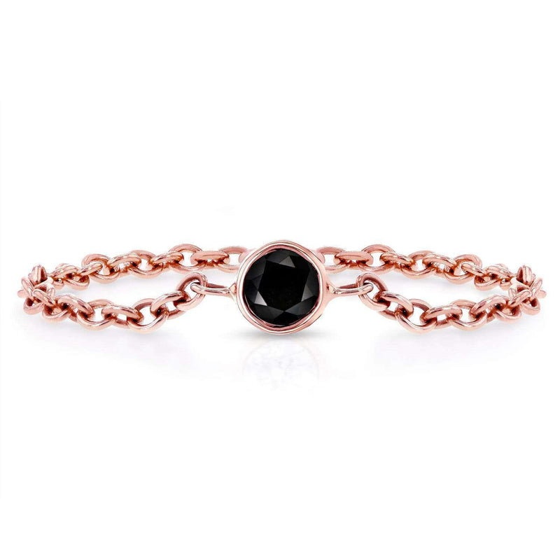 Kobelli Black Diamond Chain Ring 1/10 CTW in 14k Rose Gold