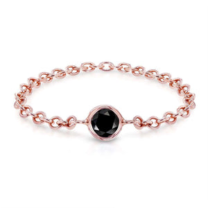 Black Diamond Chain Ring 1/10 CTW in 14k Rose Gold