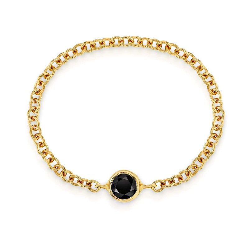 Kobelli Black Diamond Chain Ring 1/10 CTW in 14k Yellow Gold