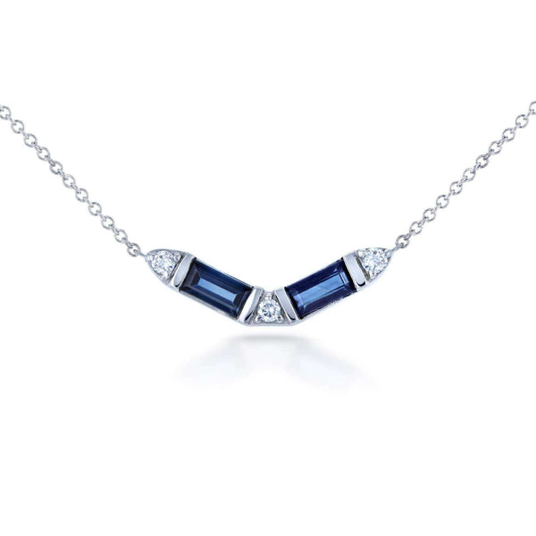 "Kobelli Blue Baguette Sapphire & Diamond Necklace 3/4 CTW in 14k White Gold (15-16"" Cable Chain) 62278BS"