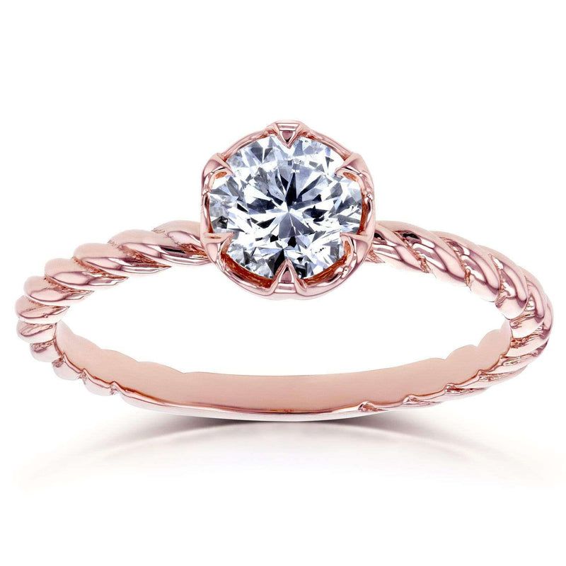 Kobelli Diamond Twisted Solitaire Ring 1/2 CTW in 14k Rose Gold