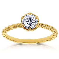 Kobelli Diamond Twisted Solitaire Ring 1/2 CTW in 14k Yellow Gold