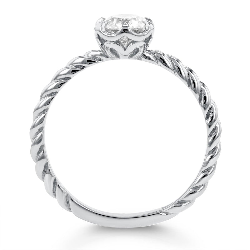 Kobelli Diamond Twisted Solitaire Ring 1/2 CTW in 14k White Gold