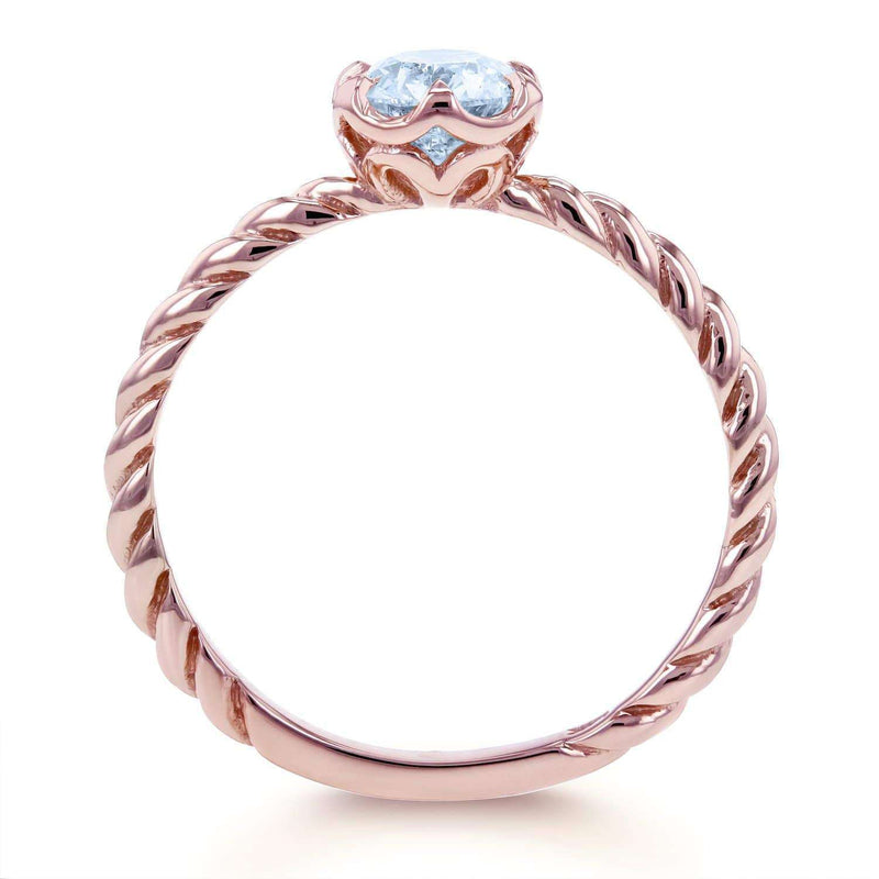 Kobelli Aquamarine Twisted Solitaire Ring 1/2 CTW in 14k Rose Gold