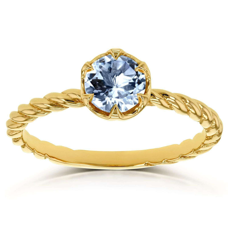Kobelli Aquamarine Twisted Solitaire Ring 1/2 CTW in 14k Yellow Gold