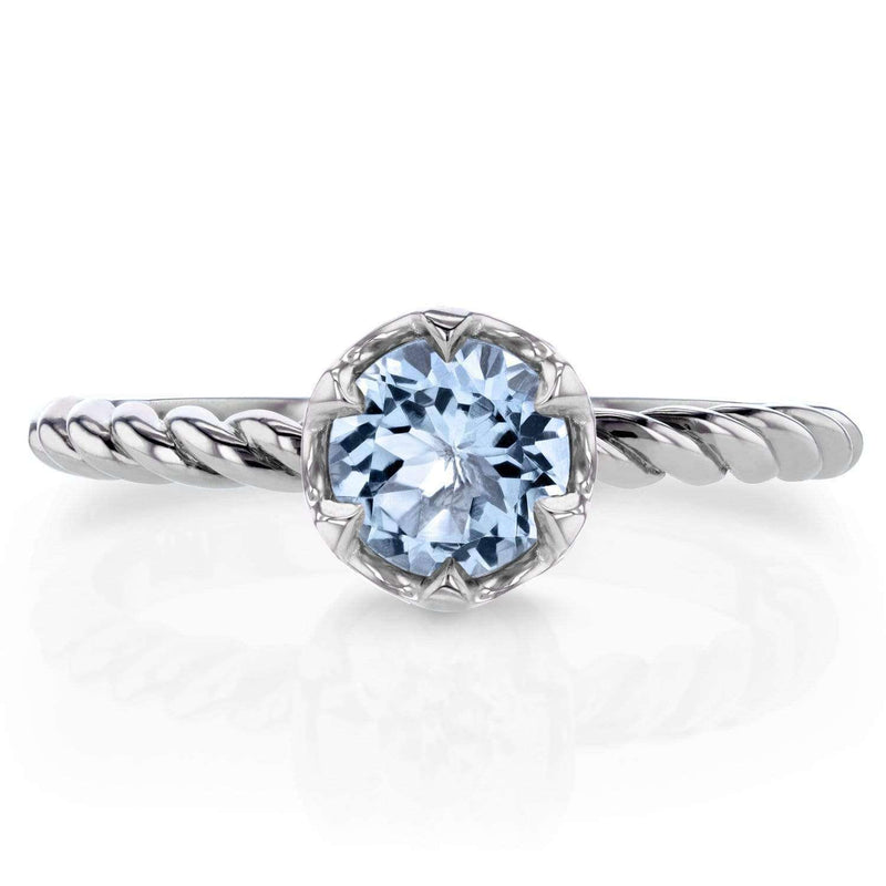 Kobelli Aquamarine Twisted Solitaire Ring 1/2 CTW in 14k White Gold
