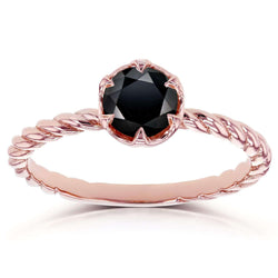 Kobelli Black Diamond Twisted Solitaire Ring 1/2 CTW in 14k Rose Gold