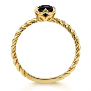 Kobelli Black Diamond Twisted Solitaire Ring 1/2 CTW in 14k Yellow Gold