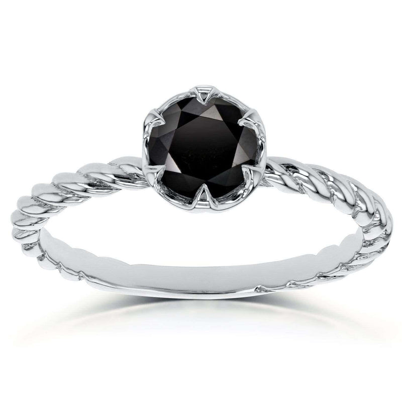 Kobelli Black Diamond Twisted Solitaire Ring 1/2 CTW in 14k White Gold