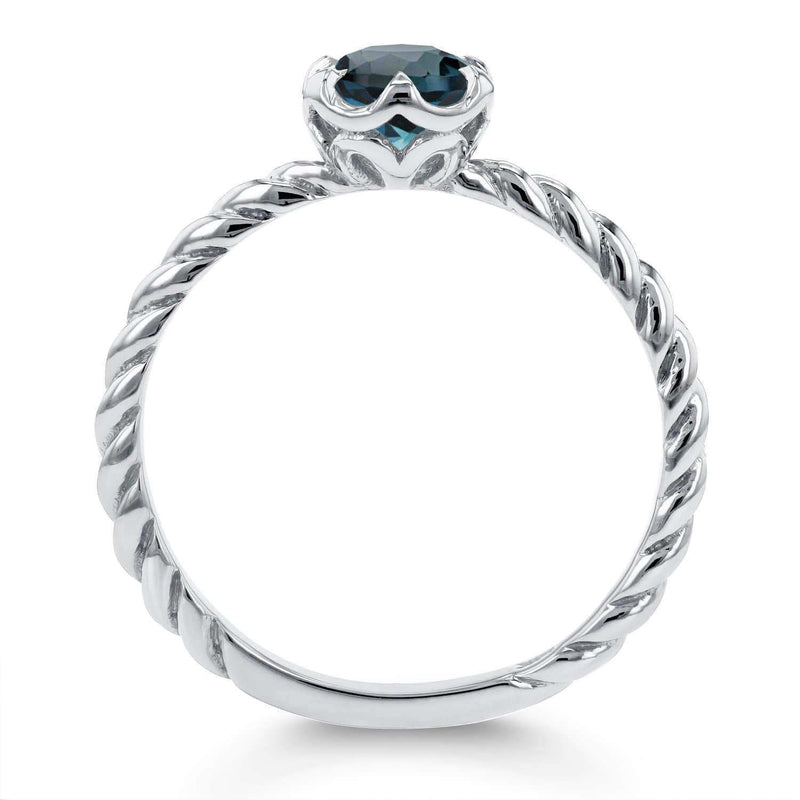 Kobelli London Blue Topaz Twisted Solitaire Ring 1/2 CTW in 14k White Gold