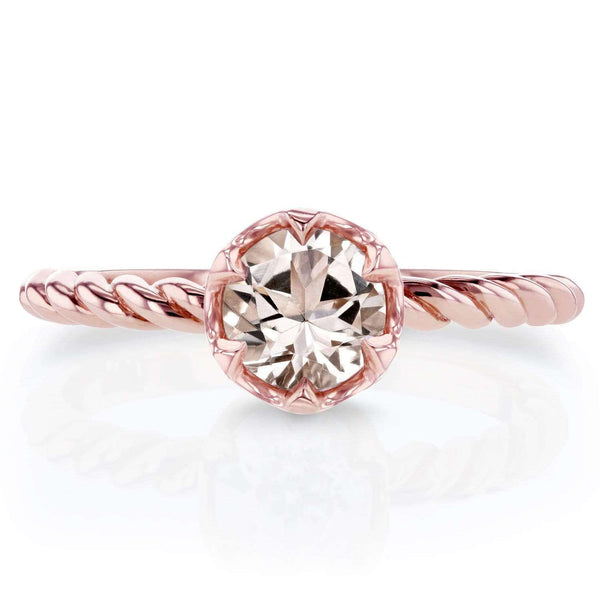 Kobelli Morganite Twisted Solitaire Ring 1/2 CTW in 14k Rose Gold