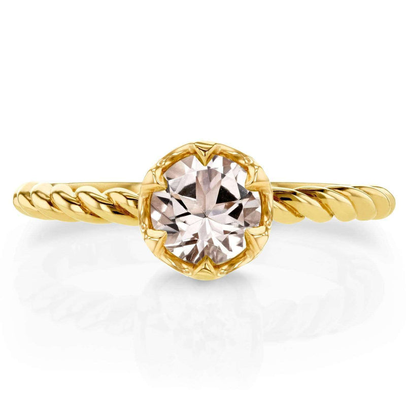 Kobelli Morganite Twisted Solitaire Ring 1/2 CTW in 14k Yellow Gold