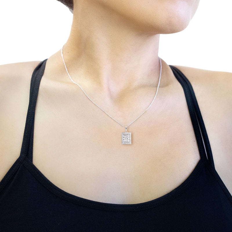 3/4ct TDW Multi-Diamond Rectangle Cluster Pendant and 16 Inch Cable Chain in 14k White Gold