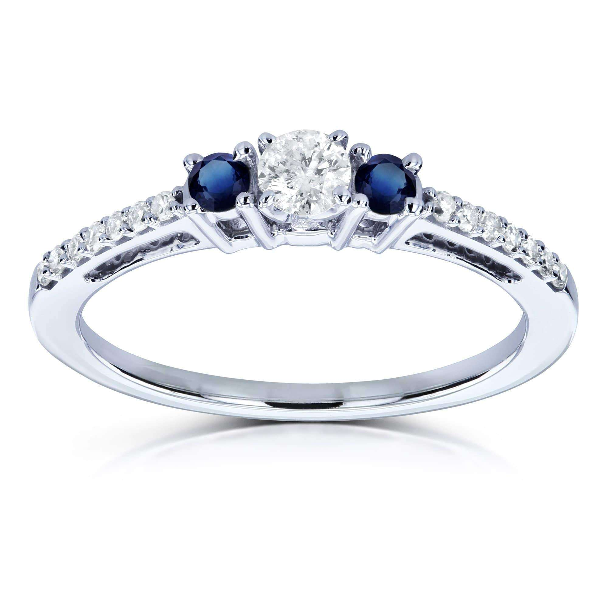 Cheap Three Stone Round Diamond and Sapphire Engagement Ring 1/4 Carat TW in 10k White Gold - 9.5