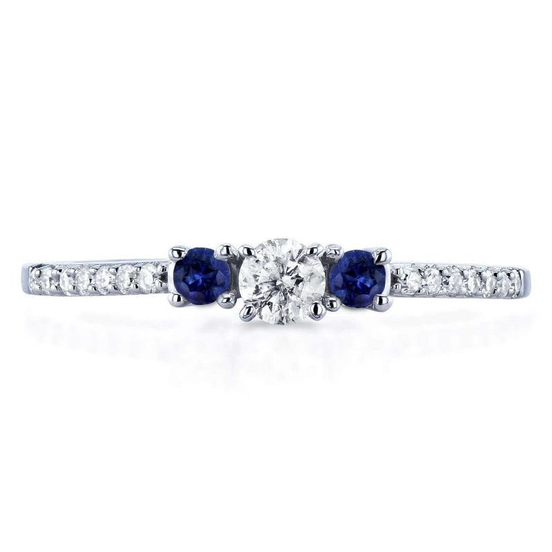 Kobelli Three Stone Round Diamond and Sapphire Engagement Ring 1/4 Carat TW in 10k White Gold