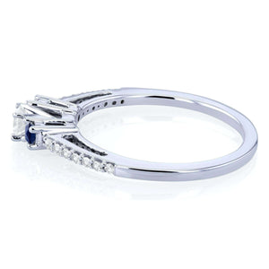 Three Stone Round Diamond and Sapphire Engagement Ring 1/4 Carat TW in 10k White Gold
