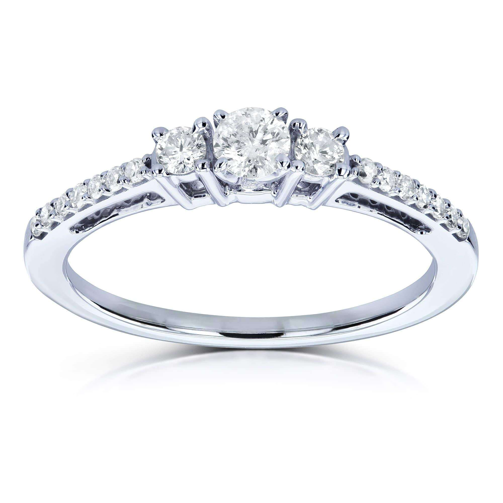 Top Three Stone Round Diamond Engagement Ring 1/4 Carat TW in 10k White Gold - 10