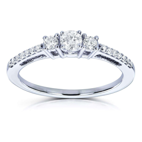 Kobelli Three Stone Round Diamond Engagement Ring 1/4 Carat TW in 10k White Gold