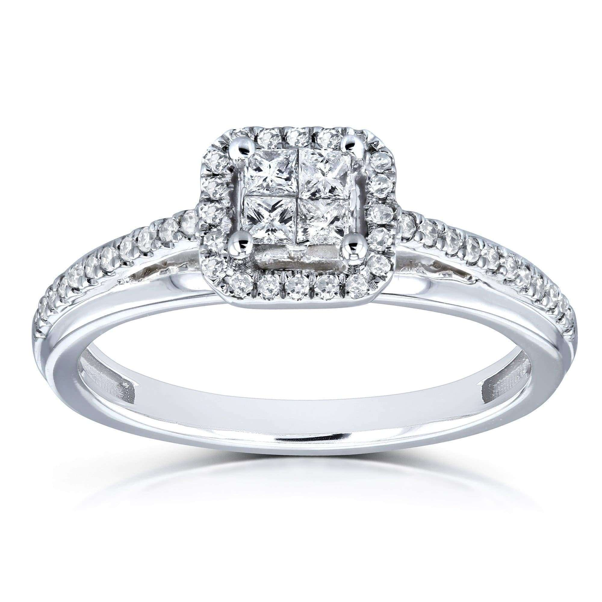 Best Diamond Cathedral Setting 1/4 Carat TW Invisible-set Princess and Halo Engagement Ring in 10k White Gold - 6.5