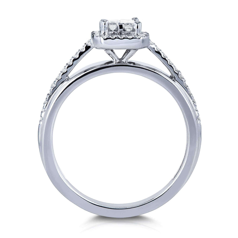 Kobelli Diamond Cathedral Setting 1/4 Carat TW Invisible-set Princess and Halo Engagement Ring in 10k White Gold