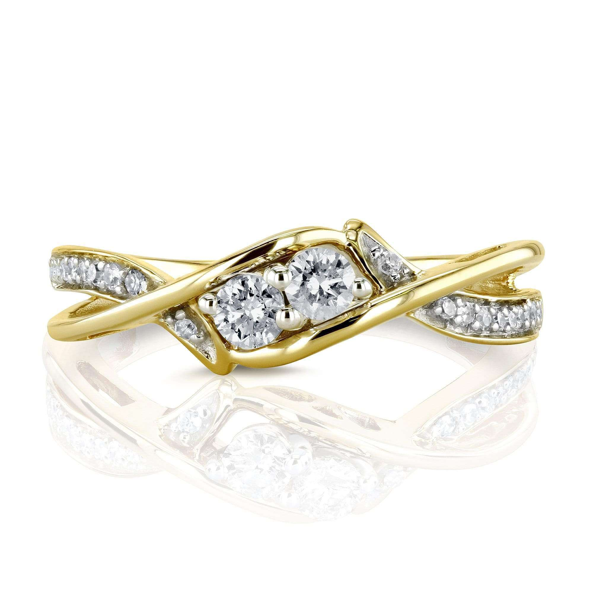 Compare Two Collection - 2 Stone Crossover Style 1/4 Carat TW Diamond Ring in 10k Yellow Gold - 6