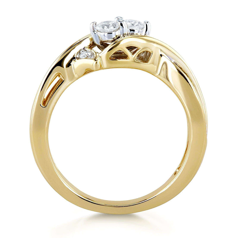 Kobelli Two Collection - 2 Stone Crossover Style 1/4 Carat TW Diamond Ring in 10k Yellow Gold